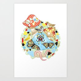 Poisonous mushroom and twitter of sparrows (remake) Art Print