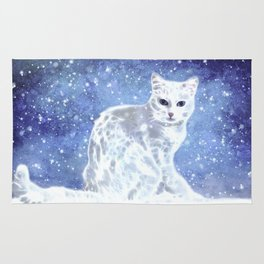 Abstract white cat Rug