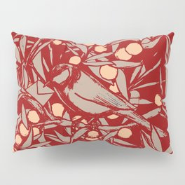 A tit in a plum tree, with Chinese inspiration, in lacquer red Pillow Sham