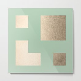 Simply Geometric White Gold Sands on Pastel Cactus Green Metal Print
