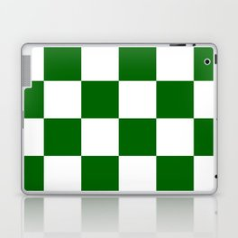 Large Checkered - White and Dark Green Laptop & iPad Skin
