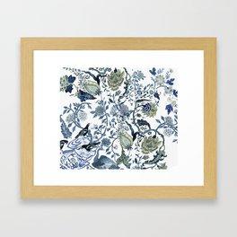 Blue vintage chinoiserie flora Framed Art Print