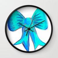 bows Wall Clocks featuring Bows by Samaa Ahmed