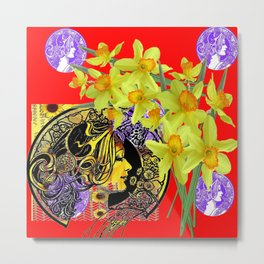 RED ART NOUVEAU MAGIC OF SPRING Metal Print