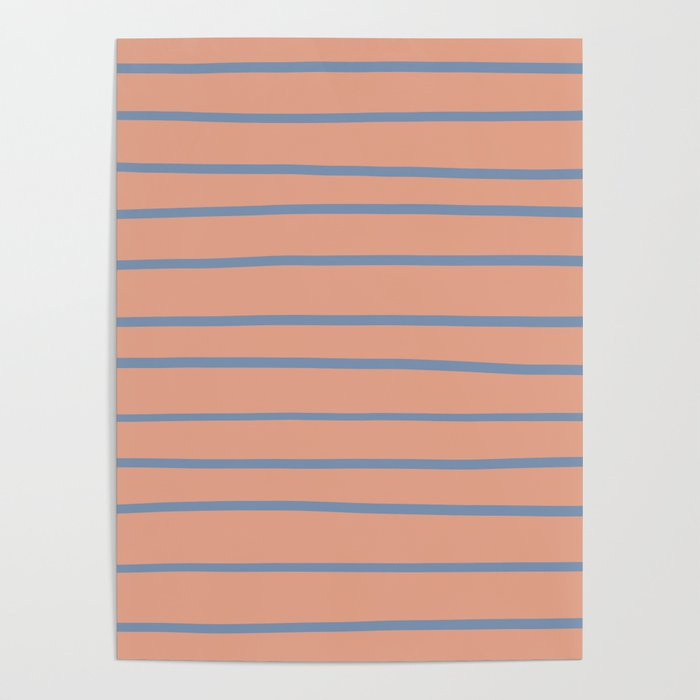 Dusky Sky Blue 27-23 Hand Drawn Horizontal Lines on Earthen Trail Pink 4-26 Poster