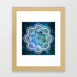 Mandala : Blue Green Galaxy Framed Art Print