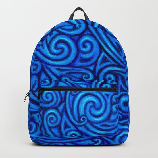 Blue Celtic Horse Abstract Spirals Backpack