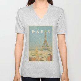 Paris France Eiffel Tower Vintage Travel Poster Commercial Air Travel Unisex V-Neck