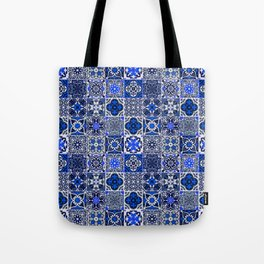-A34- Blue Traditional Floral Moroccan Tiles. Tote Bag