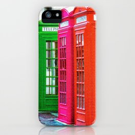 A Row of Brightly Colored Telephone Boxes iPhone Case