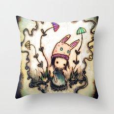 heavy bunny hat Throw Pillow