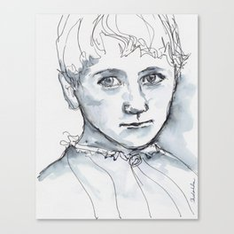 Portrait in watercolor and ink Canvas Print
