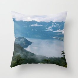 Fog over the water in Squamish BC Throw Pillow