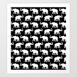 Elephants on Parade Black Art Print