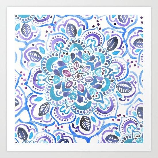 The Blues - Watercolor Mandala Art Print