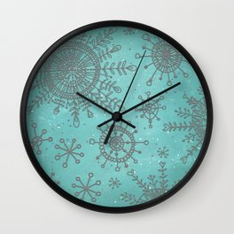 Blue and Silver Snowflakes Wall Clock
