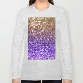 Luxury modern violet lilac faux gold sequins glitter Long Sleeve T-shirt