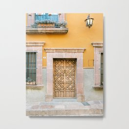 Orange and Turquoise | The San Miguel de Allende Mexico door collection | Travel photography print Metal Print