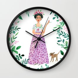Frida Kahlo(purple skirt) Wall Clock
