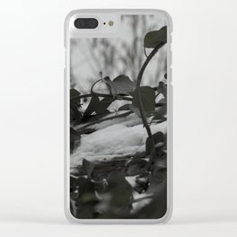 Snow covered ivy Clear iPhone Case