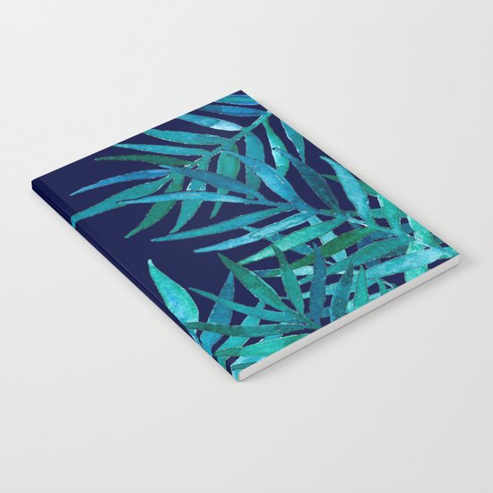 Watercolor Palm Leaves on Navy Notebook