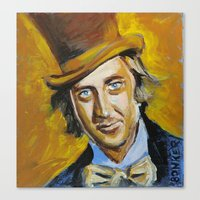 willy wonka Canvas Prints featuring Willy Wonka by Buffalo Bonker