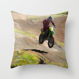 Motocross Moguls Throw Pillow