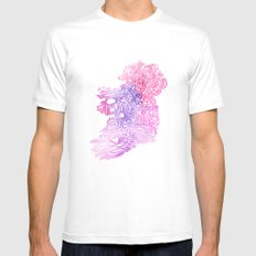 Typographic Ireland - Pink Watercolor White Mens Fitted Tee MEDIUM