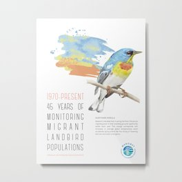45 Years of Monitoring Landbird Populations  - Northern Parula  Metal Print