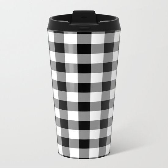 Gingham (Black/White) Metal Travel Mug