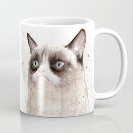 Grumpy Watercolor Cat Geek Meme Whimsical Animals Coffee Mug