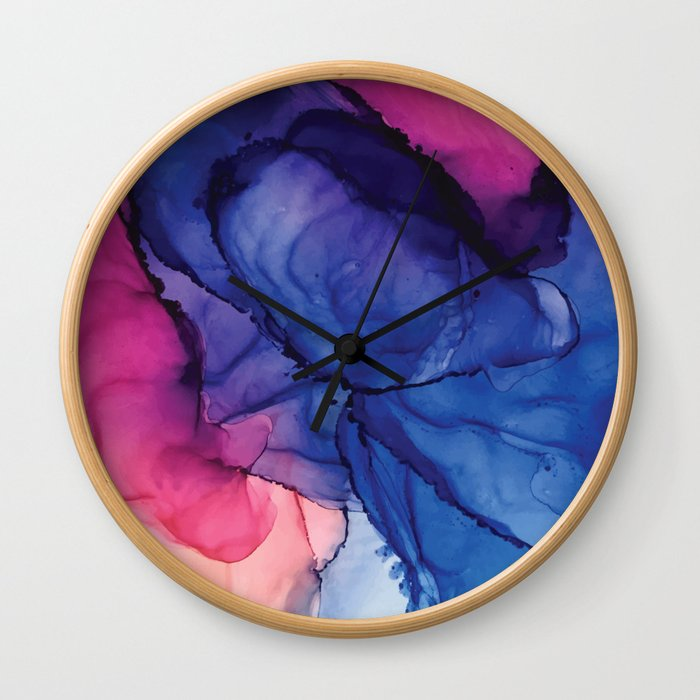 Pondering- Blue and Blush- Alcohol Ink Painting Wall Clock