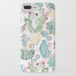 Modern triangles and hand paint cactus pattern iPhone Case