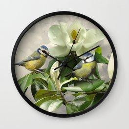 Blue Tits in Magnolia Tree Wall Clock