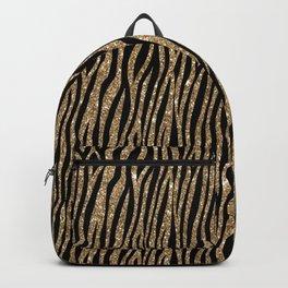 Black & Gold Glitter Animal Print Backpack