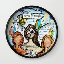 Mixed media art. Anti-abuse, First Nations Women. Stop violence against women. Wall Clock