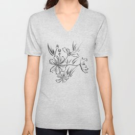 Cosmos Flowers Ink Drawing Unisex V-Neck