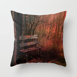 Days Gone By, Forest Landscape Bench Throw Pillow
