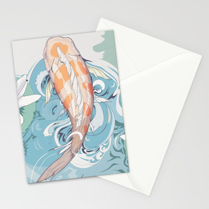 Koi Passing Through Stationery Cards