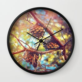 Autumn pine cones  #photography Wall Clock