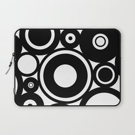 Retro Black White Circles Pop Art Laptop Sleeve