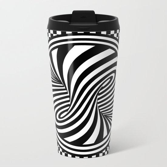 Black & White Twist & Check Design Metal Travel Mug
