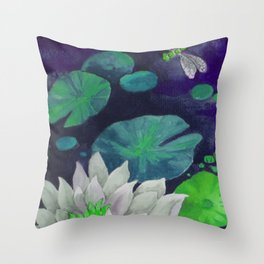 lilypad & dragonfly Throw Pillow