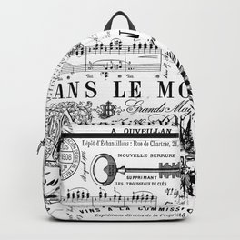 Black And White Vintage Handlettering And Ornaments Script Pattern Backpack