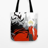 enjolras Tote Bags featuring ENJOLRAS AND THE CROWS by Cy-lindric