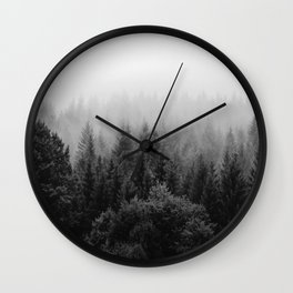 Forest, Black and White Wall Clock