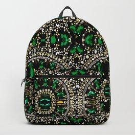 teal silver emerald green rhinestone crystal bohemian pattern Backpack