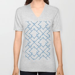 Bamboo Chinoiserie Lattice in White + Light Blue Unisex V-Neck