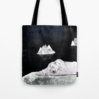 polar bear Tote Bags featuring Polar Bear by Sandra Dieckmann