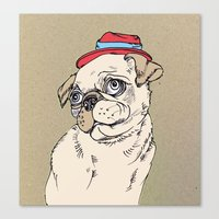 pug Canvas Prints featuring Pug by Madmi